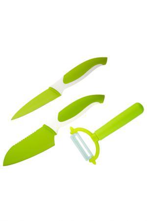 Набор ножей и овощечистка Granchio. Цвет: зеленый