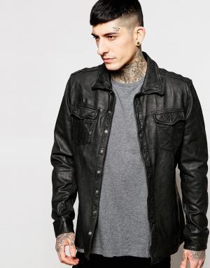Goosecraft Черная кожаная рубашка‑куртка. Цвет: черный