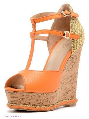 Босоножки Grand Style. Цвет: оранжевый, золотистый