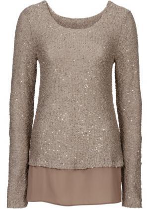 Пуловер расшитый пайетками (серо-коричневый) bonprix. Цвет: серо-коричневый