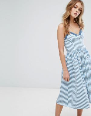 Rollas Платье в полоску на пуговицах. Цвет: синий