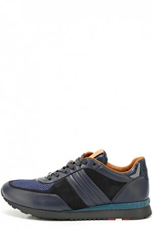 Кожаные кроссовки с замшевой отделкой Bally. Цвет: темно-синий