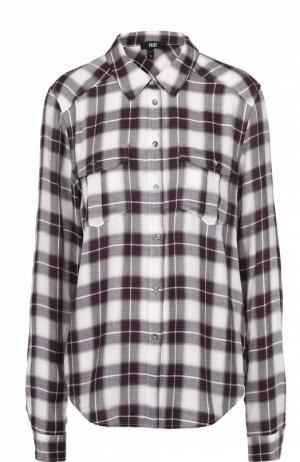 Блуза прямого кроя в клетку с накладными карманами Paige. Цвет: разноцветный
