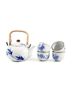 Набор для чайных церемоний Восточный на 4 персоны Русские подарки. Цвет: белый, синий