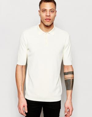 ADPT Трикотажная футболка-поло с короткими рукавами. Цвет: белый