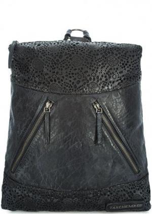 Кожаный рюкзак с перфорированными вставками Taschendieb. Цвет: черный