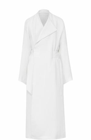 Льняное пальто свободного кроя с поясом Acne Studios. Цвет: белый