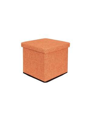 Пуф складной с ящиком для хранения Оранжевый EL CASA. Цвет: оранжевый