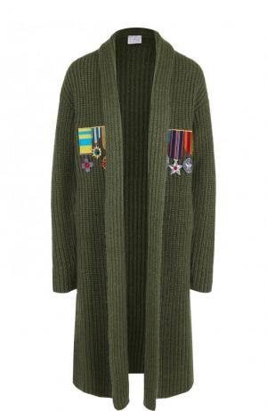 Удлиненный кардиган фактурной вязки Stella Jean. Цвет: зеленый