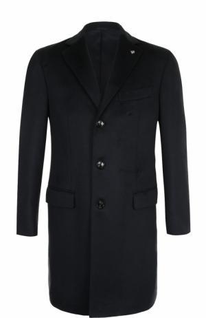 Однобортное кашемировое пальто с отложным воротником Sartoria Latorre. Цвет: темно-синий