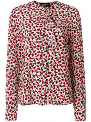 Блузка с оборкой и цветочным принтом Rochas. Цвет: телесный