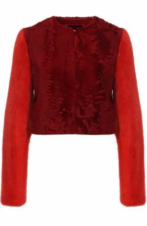 Укороченная шуба из меха норки и овчины с круглым вырезом Givenchy. Цвет: красный