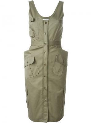Платье в стиле милитари Chalayan. Цвет: зелёный