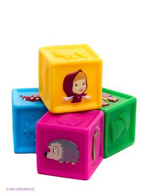 Набор кубиков для купания Маша и медведь Играем вместе. Цвет: желтый, зеленый, голубой, фуксия