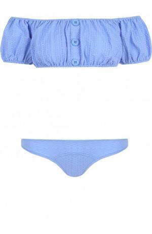 Однотонный раздельный купальник Lisa Marie Fernandez. Цвет: голубой