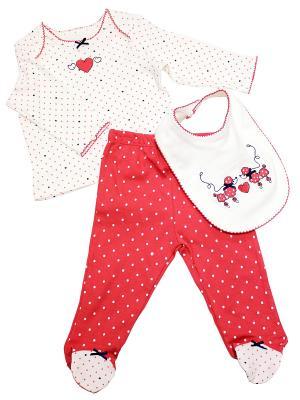 Комплект из 3-х предметов Пудели Little Me. Цвет: белый, красный