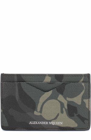 Кожаный футляр для кредитных карт с камуфляжным принтом Alexander McQueen. Цвет: хаки