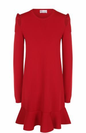 Мини-платье с длинным рукавом и оборкой REDVALENTINO. Цвет: красный