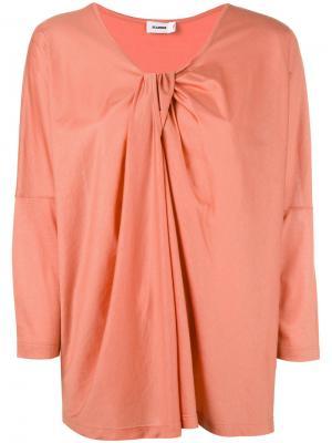 Блузка с драпировкой и V-образной горловиной Jil Sander. Цвет: жёлтый и оранжевый
