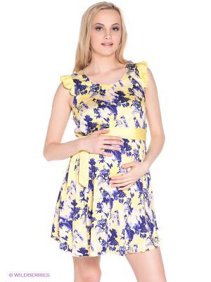 Платье для беременных 40 недель. Цвет: желтый, темно-синий