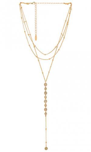Ярусная цепочка-лариат Ettika. Цвет: металлический золотой