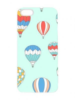 Чехол для iPhone 5/5s Воздушные шары на голубом Chocopony. Цвет: светло-голубой, бледно-розовый, голубой