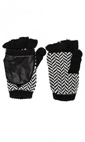 Текстурированные варежки в елочку Plush. Цвет: black & white