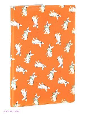 Обложка для паспорта Бульдожки на оранжевом Mitya Veselkov. Цвет: оранжевый, белый
