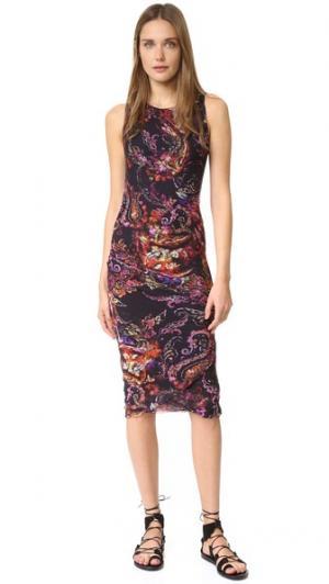 Платье без рукавов с узором «павлиний глаз» Fuzzi. Цвет: розовый