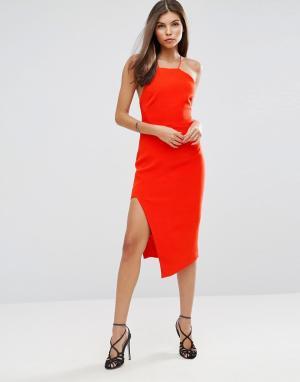 Talulah Платье миди с разрезом Losing My Mind. Цвет: оранжевый