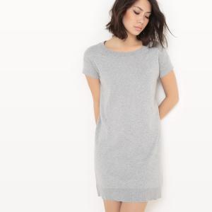 Платье-пуловер из хлопка/шелка La Redoute Collections. Цвет: светло-розовый,серый меланж
