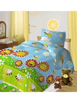 Комплект постельного белья детский бязь Кошки-мышки. Цвет: голубой