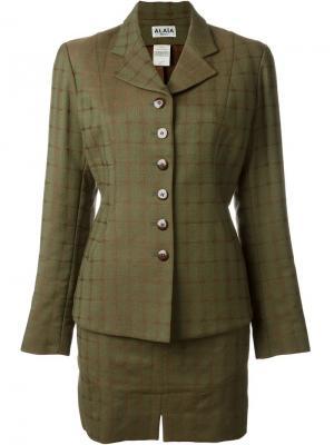 Юбочный костюм в клетку Alaïa Vintage. Цвет: зелёный