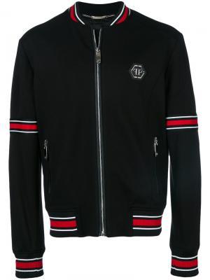 Куртка-бомбер с полосатой окантовкой Philipp Plein. Цвет: чёрный