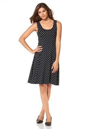 Платье из джерси Chillytime. Цвет: черный + белый с принтом в горох