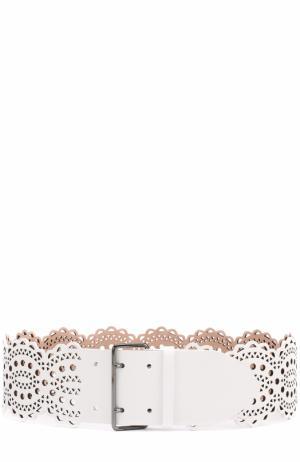 Кожаный ремень Alaia. Цвет: белый