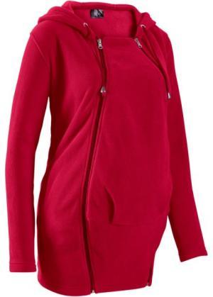 Флисовая куртка для беременных, со вставкой малыша (темно-красный) bonprix. Цвет: темно-красный
