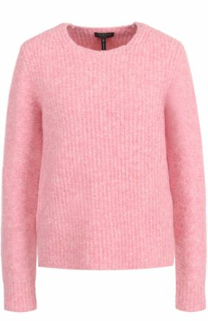Шерстяной пуловер с круглым вырезом и замшевыми заплатками Rag&Bone. Цвет: розовый