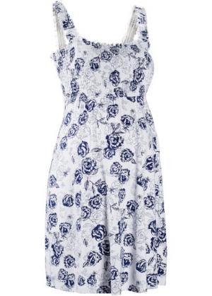 Мода для беременных: трикотажное платье (белый/ночная синь в цветочек) bonprix. Цвет: белый/ночная синь в цветочек