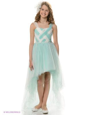 Платье Ilgaz kids. Цвет: бирюзовый, белый