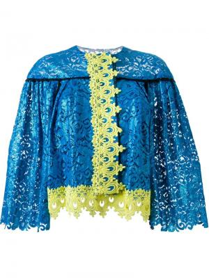 Жакет с кружевной отделкой DressCamp. Цвет: синий
