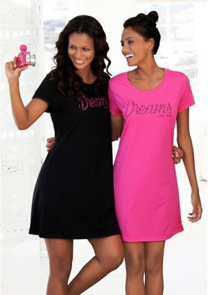 Ночная сорочка, 2 штуки VIVANCE. Цвет: ярко-розовый+черный
