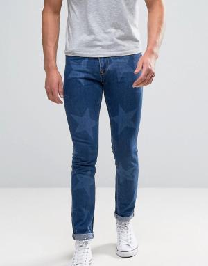 Brooklyn Supply Co. Укороченные джинсы со звездами Co. Цвет: синий