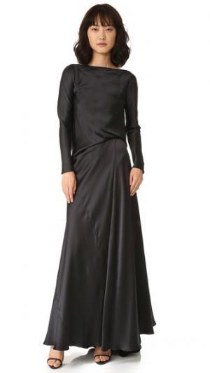 Платье из шармеза с длинными рукавами и драпировкой на спине EDUN. Цвет: голубой