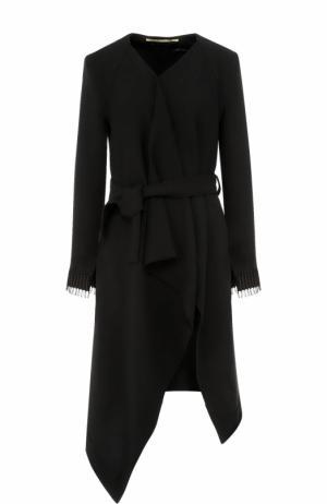 Шерстяное пальто асимметричного кроя с поясом Roland Mouret. Цвет: черный