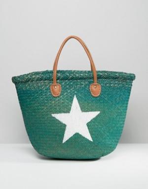 Hat Attack Соломенная сумка-тоут с изображением звезды. Цвет: зеленый
