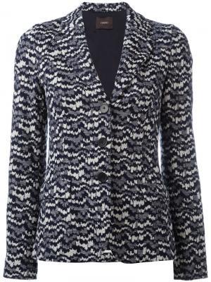 Трикотажный приталенный пиджак Odeeh. Цвет: синий