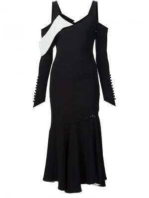 Платье с открытыми плечами Prabal Gurung. Цвет: чёрный
