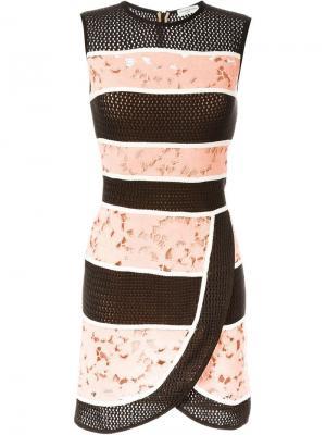 Платье с контрастными панелями Veronique Leroy. Цвет: розовый и фиолетовый
