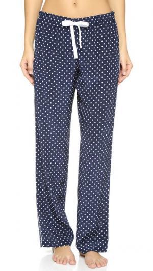 Пижамные брюки с окантовкой Alessandra Mackenzie. Цвет: темно-синий/белый горошек